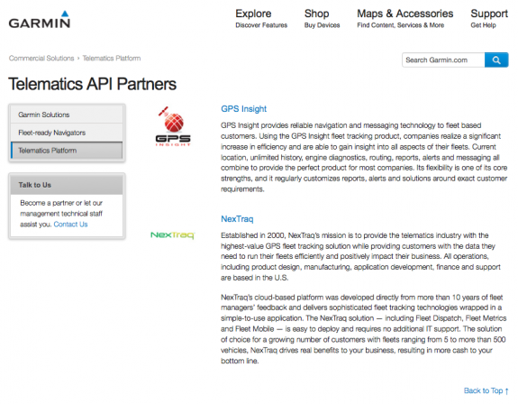 Garmin Telematics Platform Partners